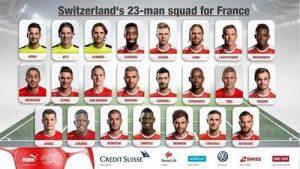 瑞士2016欧洲杯23人大名单