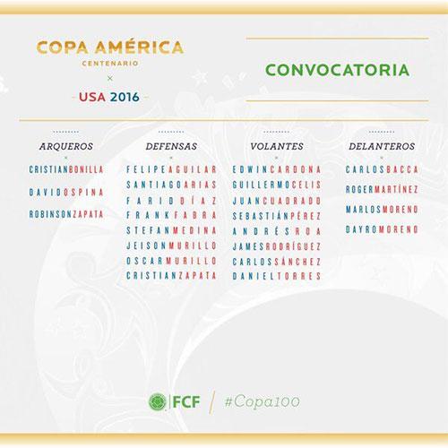 J罗领衔哥伦比亚2016美洲杯大名单
