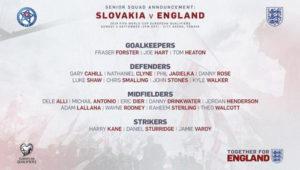 英格兰公布世预赛23人名单